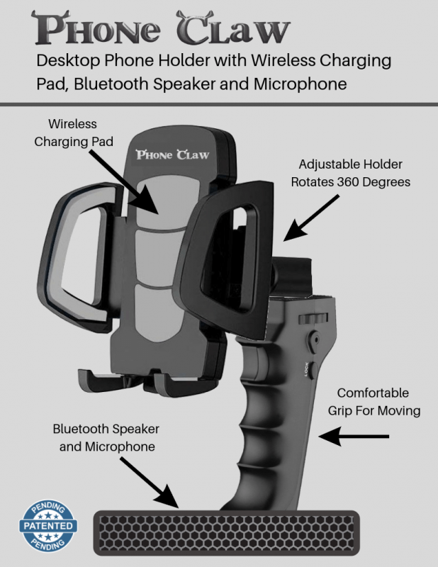 Desktop Phone Holder with Wireless Charging Pad and Bluetooth Speaker and Microphone